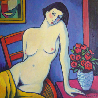 Nude with vase of roses by Guillermo Martí Ceballos