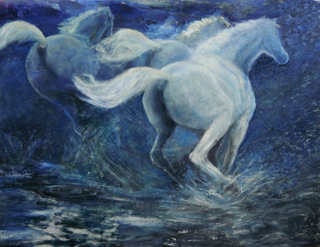 Three running horses by Sylva Zalmanson