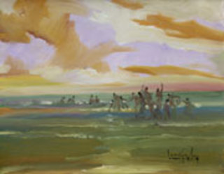 Playing on the Beach by U Lun Gywe