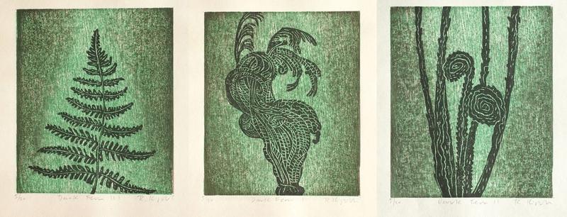 Dark Ferns I, II, III,  5/20 by Ralph Kiggell