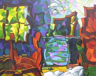 Interior con una cómoda verde by José Sanz Sala