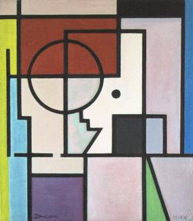 Mondrian-style character. by Pablo Daza