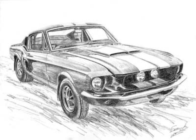 Mustang 1967 Original Art By Sandra Rex Picassomio
