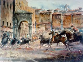 Siena Palio Race by Juan Félix Campos