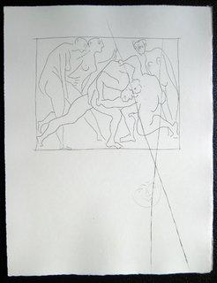 Deux Lutteurs observes par trois femmes nues by Pablo Picasso