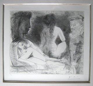 Peintre avec deux modeles by Pablo Picasso