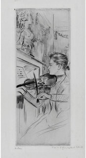 Alice Helleu playing a violin by Paul César Helleu