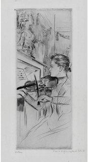 Alice Helleu playing a violin by Paul César Helleu