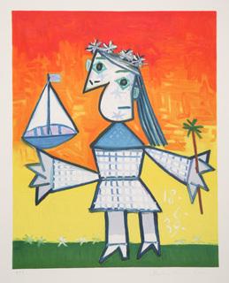 Fille Couronnée au Bateau by Picasso Estate Collection