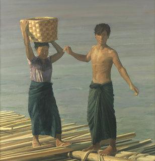 Washing on the Irradwady, Burma by Pip Todd Warmoth
