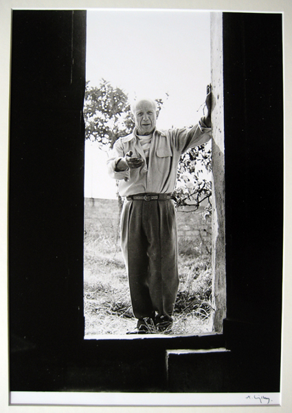 Atelier du Fournas - Vallauris 1954 (Picasso standing at open door beconing) by Andre Villers