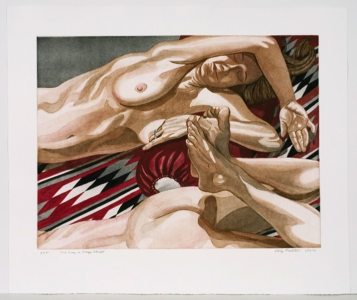 2 Nudes on Navajo Blanket by Philip Pearlstein