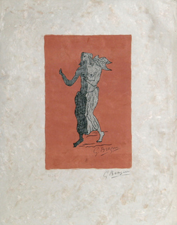 Personnage sur fond rose by Georges Braque