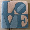 Two Blues and Beige Love by Robert Indiana