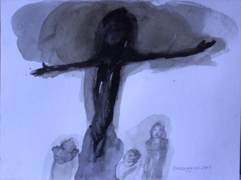 Crucifixion from afar by Ricardo Hirschfeldt