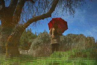 The woman's red umbrella I by Brandan