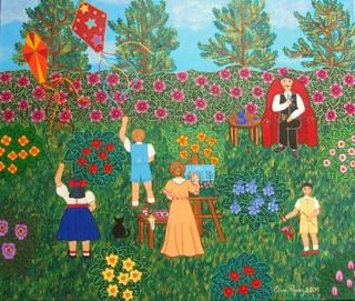 Pintando en el jardín by Clara Rodriguez
