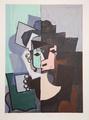 Portrait de Face sur Fond Rose et Vert by Picasso Estate Collection