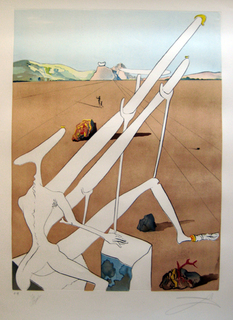 Martian Dali equipped with a double holoelectronic  microscope by Salvador Dalí
