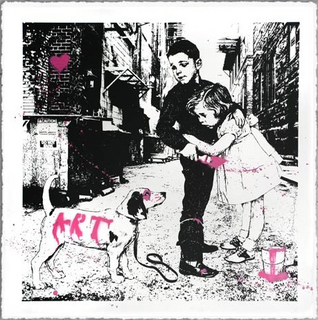 Pup Art - Pink by Mr. Brainwash