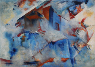 A without a place, oil on canvas, signed by Lidia Solanot
