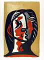 Tête de Femme en Gris et Rouge sur Fond Ocre by Picasso Estate Collection