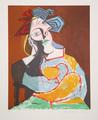 Femme Accoudée au Chapeau Bleu et Rouge by Picasso Estate Collection