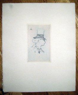 Baudelaire de profile en chapeau I by Eduard Manet