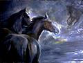 Black horses by Sylva Zalmanson