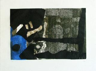 Ocre noir et bleu by Antoni Clavé