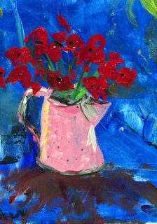 Poppies in a Pink Pewter Pot by David Abse