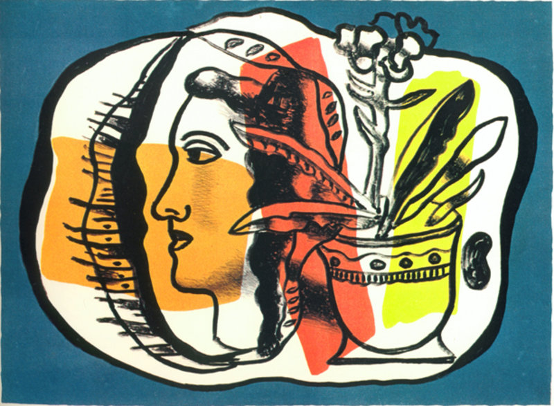 Composition au profile original art by fernand leger for Telephone leger