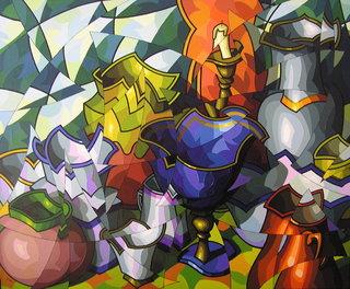 Gran composición con copa azul by José Sanz Sala