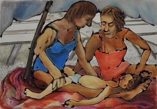 Sitting on the beach by Hilary Senhanli