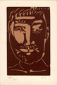 Head of a man with a moustache. by Pablo Picasso