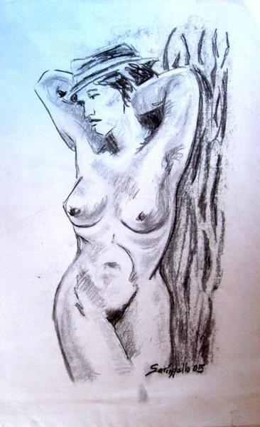 NUDE WOMAN WITH HAT. by Raquel Sara Sarangello