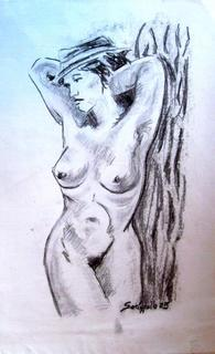 NUDE WOMAN WITH HAT. by Raquel Sara Sarangello