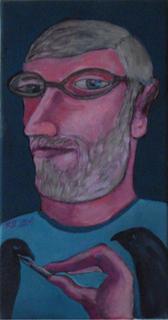 Self Portrait with crows by Ricardo Hirschfeldt