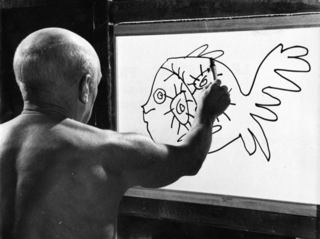 "Picasso painting a fish from ""Le Mystere Picasso"" by Pablo Picasso"