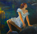 Girl on rock by Sylva Zalmanson