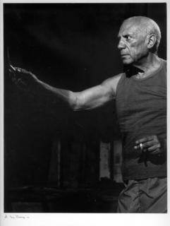 """Tournage du film """"Le Mystere Picasso"""" de H G Clouzot, Nice, 1955 by Pablo Picasso"""