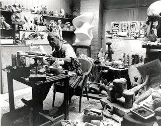 Henry Moore in his studio by Henry Moore