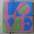 Green, Pink and Blue Love by Robert Indiana