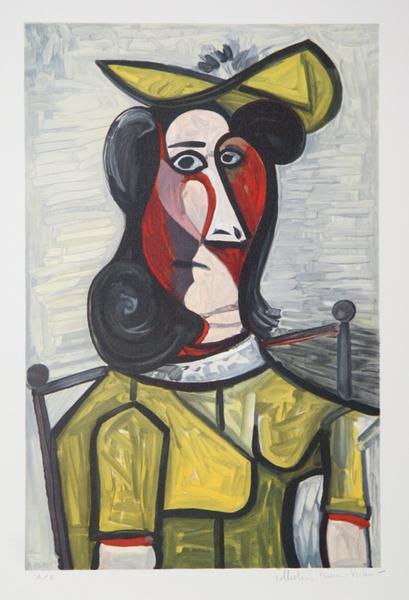 Portrait de Femme au Chapeau et à la Robe Vert-Jaune Original Art by ...