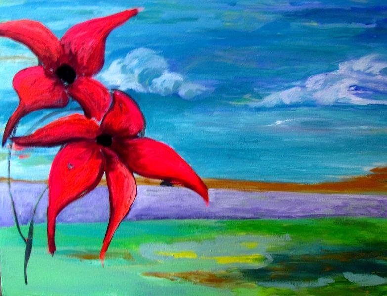 FLOWERS RED by Raquel Sara Sarangello