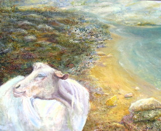 Landscape with goat by Sylva Zalmanson