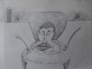 Selfportrait plate served by Ricardo Hirschfeldt