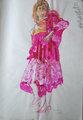 Red Paris Dress, Leather, Lace, Fur & Rue de Rivoli Gold Court Shoes by John Bratby