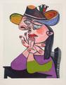 Femme Accoudée en Robe Mauve et un Chapeau by Picasso Estate Collection