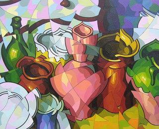 Composicion con vasijas y botella by José Sanz Sala